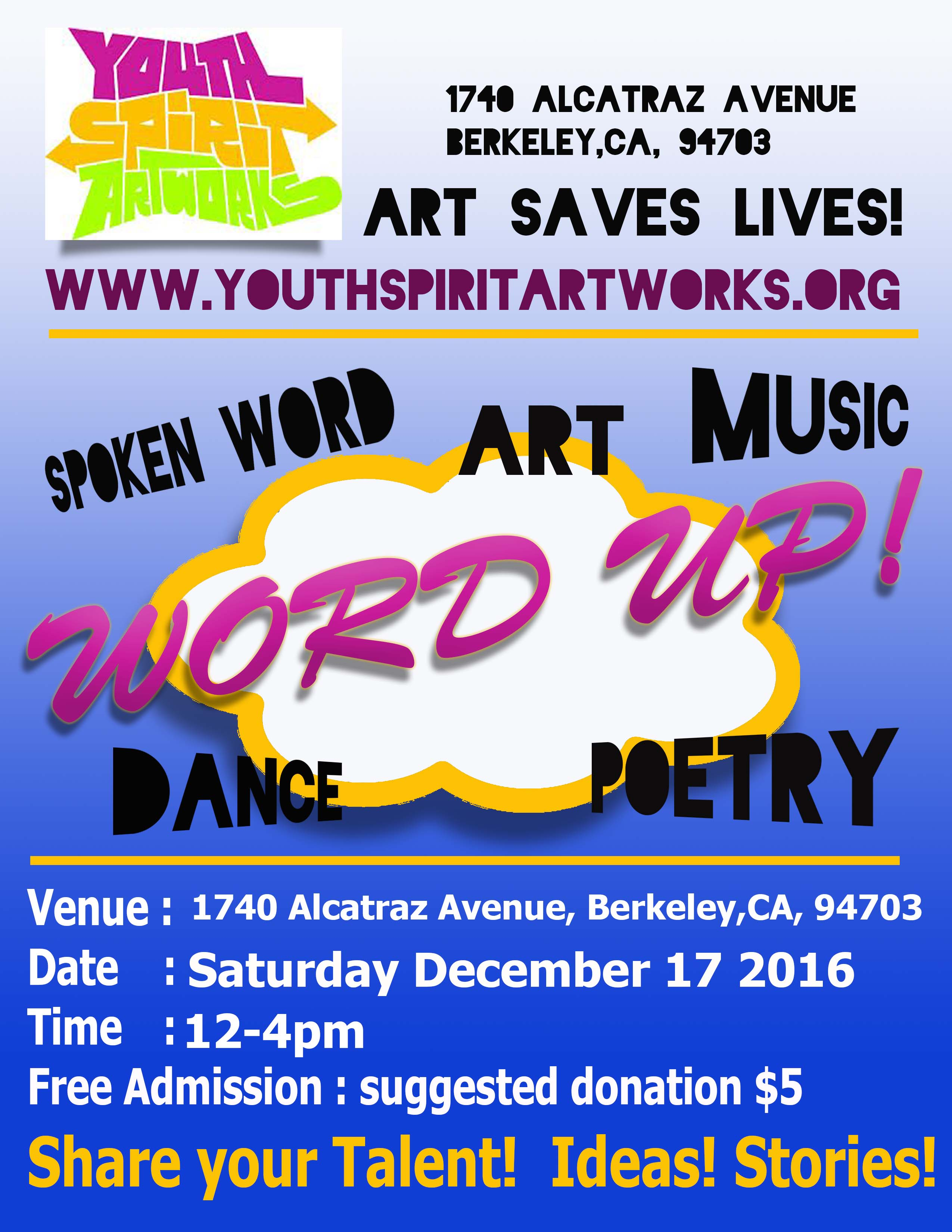 YSA poetry, music and art event